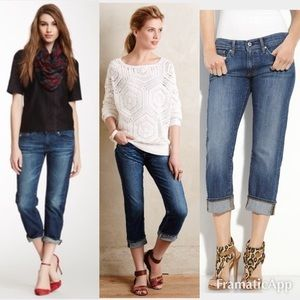 AG The tomboy Crop Relaxed Straight Gold Jeans